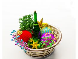 Christmas Basket Full With Colorful Balls Wine Bottle Stock Photo