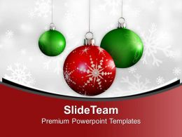 Christmas Baubles With Winter Snowflakes PowerPoint Templates PPT Themes And Graphics