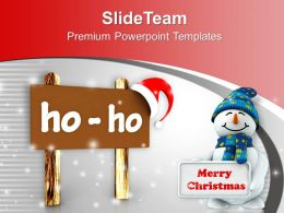 Christmas Board In Browen Ho Ho Text PowerPoint Templates PPT Backgrounds For Slides 0113