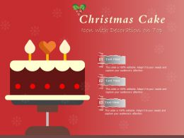 Christmas Cake Icon With Decoration On Top