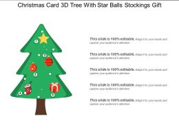 Christmas Card 3d Tree With Star Balls Stockings Gift