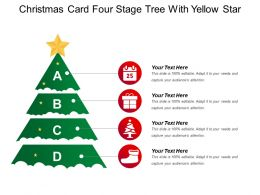 Christmas Card Four Stage Tree With Yellow Star