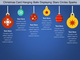 Christmas Card Hanging Balls Displaying Stars Circles Sparks
