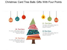 Christmas Card Tree Balls Gifts With Four Points