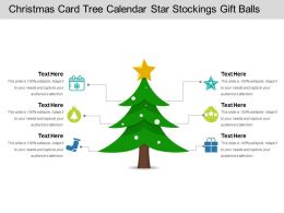 Christmas Card Tree Calendar Star Stockings Gift Balls