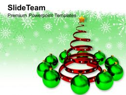 Christmas Carols Party Decorative Tree With Baubles Concept Templates Ppt Backgrounds For Slides