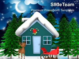Christmas Clip Art Religious Theme With Santas Sleigh Holidays Powerpoint Templates