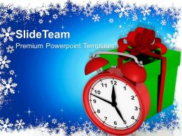 Christmas Clipart Greetings Alarm Clock With Gifts Event Powerpoint Templates Ppt For Slides