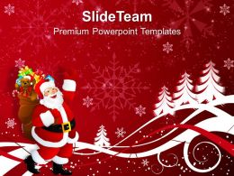 Christmas Clipart Happy Santa Claus On Background Powerpoint Templates Ppt For Slides