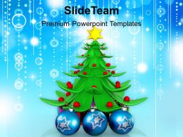 Christmas Day Clip Art Stylized Tree With Ornaments Concept Templates Ppt Backgrounds For Slides