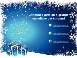 Christmas Gifts On A Grunge Snowflake Background