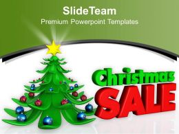 Christmas Gifts Vintage Illustration Of Tree With Sale Powerpoint Templates Ppt For Slides