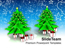 Christmas Greeting Ornament Two Tree With Gifts Events Powerpoint Templates Ppt Background For Slides