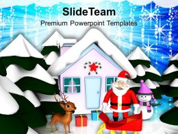 Christmas Greeting Pictures Of Jesus Santa Claus And Sleigh Theme Templates Ppt For Slides