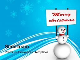 Christmas Greeting Pictures Of Jesus Snowman With Merry Chritsmas Banner Powerpoint Templates Ppt
