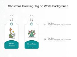 Christmas Greeting Tag On White Background