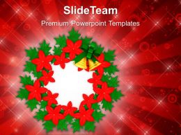 Christmas Greetings Decorative Flowers And Wreath Holidays Powerpoint Templates Ppt Background