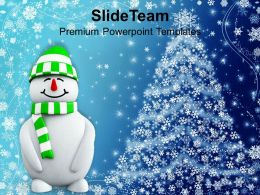 Christmas Greetings Snowman With Background Powerpoint Templates Ppt Backgrounds For Slides