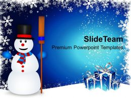 Christmas Greetings Snowman With Broom On Powerpoint Templates Ppt Backgrounds For Slides