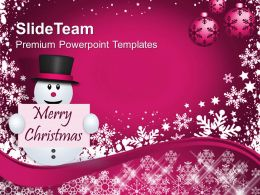 Christmas Greetings Snowman With Message Holidays Powerpoint Templates Ppt Backgrounds