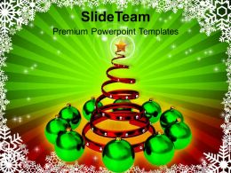 Christmas Holiday Attractive Tree With Green Ornaments Festival Powerpoint Templates