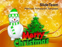 Christmas Holiday Attractive Tree With Snowman Festival Powerpoint Templates Ppt Backgrounds