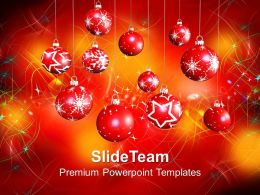 Christmas Holiday Baubles Festival Powerpoint Templates Ppt Backgrounds For Slides