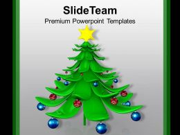 Christmas Holiday Beautiful Tree With Balls Powerpoint Templates Ppt Backgrounds For Slides