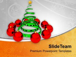 Christmas Holiday Tree With Red Balls Powerpoint Templates Ppt Backgrounds For Slides