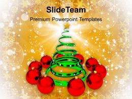 Christmas Holiday Tree With Red Baubles Events Powerpoint Templates Ppt Backgrounds For Slides