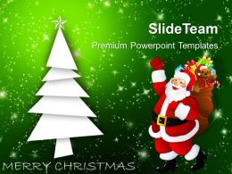 Christmas Holiday Tree With Santa Claus Holidays Powerpoint Templates Ppt Backgrounds For Slides