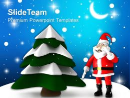 Christmas Holiday Tree With Santa Holidays Powerpoint Templates Ppt Backgrounds For Slides