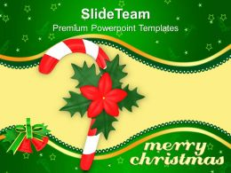 Christmas Image Red Single Candy Cane With Flower Templates Ppt Background For Slides