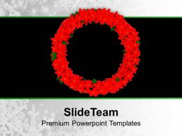 Christmas Image Red Wreath In Colour Powerpoint Templates Ppt Backgrounds For Slides