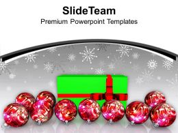 Christmas Lights Vintage Balls And Gift Green Wrapping Powerpoint Templates Ppt Backgrounds
