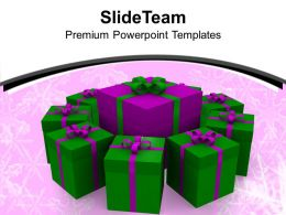 Christmas Message Bells Gifts Packed In Circle Events Templates Ppt For Slides Powerpoint