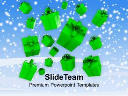 Christmas Message Clip Art Falling Gift Boxes Powerpoint Templates Ppt Backgrounds For Slides