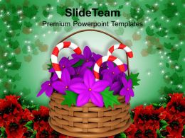 Christmas Message Clip Art Flower Basket With Candies Powerpoint Templates Ppt Backgrounds For Slides