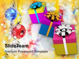 Christmas Message Clip Art Gift Boxes On Background Festival Templates Ppt For Slides Powerpoint