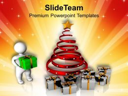 Christmas Ornaments Happy 3d Man With Gifts Holidays Powerpoint Templates Ppt For Slides