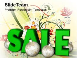 Christmas Ornaments Happy Sale With Stylized Baubles Shopping Powerpoint Templates