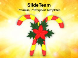 Christmas Pics Merry Red Yellow Candy Cane With Flower Templates Ppt For Slides Powerpoint