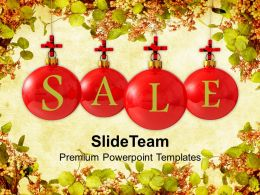 Christmas Pics Tree Sale Baubles On Winter Background Templates Ppt Backgrounds For Slides