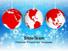 Christmas Picture Ornaments With World Map Business Templates Ppt Backgrounds For Slides