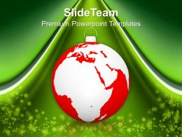 Christmas Pictures Ornament With World Map Globe Powerpoint Templates Ppt Backgrounds For Slides