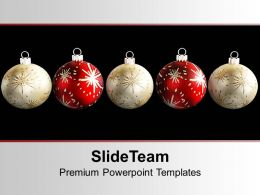 Christmas Pictures Party Balls White And Red Powerpoint Templates Ppt Backgrounds For Slides