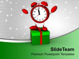 Christmas Present Greetings Alarm Clock With Gift Box Powerpoint Templates Ppt Backgrounds For Slides