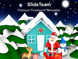 Christmas Present Happy Scene At Night Events Powerpoint Templates Ppt Backgrounds For Slides