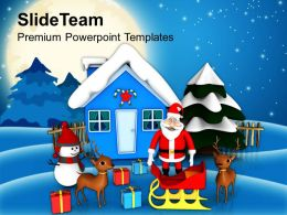 Christmas Present Happy Scene Holidays Powerpoint Templates Ppt Backgrounds For Slides