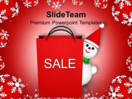 Christmas Present Happy Shopping Bag Winter Background Powerpoint Templates Ppt Backgrounds